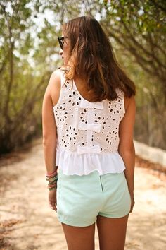White eyelet top with bows down the back + mint shorts for a hot summer day.