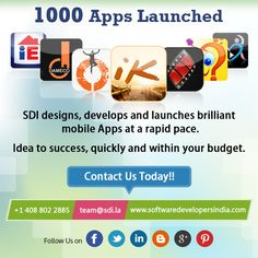 #startup, #entrepreneur 1000 successful apps launched within clients budget! Lets start work on your mobile app today!