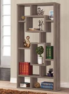 """Weathered grey finish wood bookshelf. Measures 35.5"""" x 11.5"""" x 70.75"""" H. Some assembly required. 152.99"""