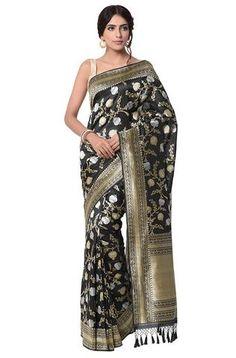 Black pure katan silk jangla saree