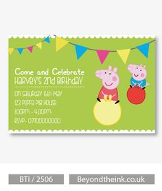 Personalised Peppa Pig & George Pig Space Hopper Invitations. Printed on Professional 300 GSM smooth card with free envelopes & delivery as standard. www.beyondtheink.co.uk