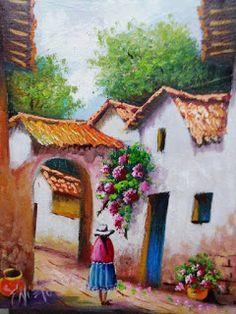 cuadros-balcones-fachadas City Art, Native American Indians, Landscape Art, Beautiful Landscapes, Wool Felt, Fabric Design, Art Drawings, Fairy Tales, Decoupage