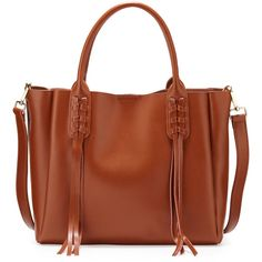Neiman Marcus Laney Fringe Leather Tote Bag ($93) ❤ liked on Polyvore featuring bags, handbags, tote bags, whiskey, leather purse, brown leather purse, genuine leather tote, zip tote and leather handbags