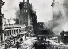 The full scope of the destruction caused by the Knowless Building Fire, corner of Main and High Streets, Worcester Massachusetts. Photograph from the E. Worcester Massachusetts, Massachusetts Usa, Old Images, Museum Exhibition, Main Street, American History, New England, Past, Old Things