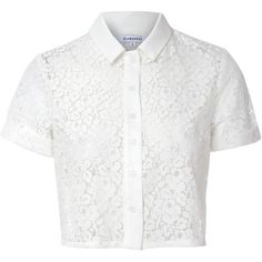 White Cropped Lace Blouse featuring polyvore, fashion, clothing, tops, blouses, shirts, white, lace crop top, white short sleeve blouse, button down shirts, white crop top and white lace blouse