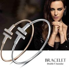 Gold Color Adjustable CZ Crystal Pulsera Double T Shaped Metal Cuff Bracelets&Bangle Open Cross Charm Bracelet For Women Or Men