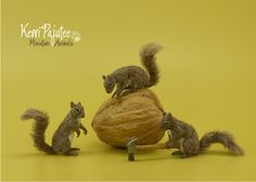 Miniature 1:12 squirrel sculptures - The Jackpot by Pajutee.deviantart.com on @deviantART