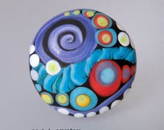 Modern Art Glass - Glass cabochon,  lampwork glass button, by Michou Pascale Anderson