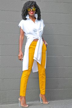 Style Pantry | Tie Front Cotton Shirt + Ankle Length Trousers
