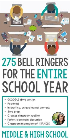 Journal prompts for the entire school year   Digital   Google Drive   Middle and high school ELA   275 bell ringers