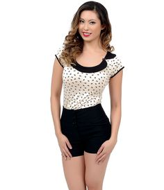 Black & Cream Bow Print Cap Sleeve Buttercup Top