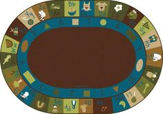 Natures Colors Learning Blocks Factory Second Classroom Rug 8'3 x 11'8 Oval | Carpets for Kids - Factory Seconds