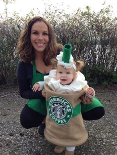 Halloween 2013 DIY Starbucks Frappuccino costume with barista