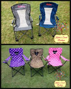 Monogrammed Chairs -Solid Colors - Portable folding Chair - Adult or Child  sc 1 st  Pinterest & Monogrammed Tailgate Chair...I would love one of these for when Iu0027m ...