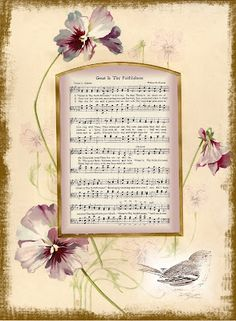 Hymn ~ Great is Thy Faithfulness in pansy frame.  Free for personal use.