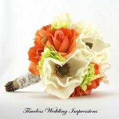 Rustic Wedding Bridal Bouquet Burlap Lace Orange Magnolias Roses Real Touch Silk Flowers Hydrangeas