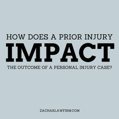 How does a prior injury sustained affect the outcome of a car accident?  With more drivers on the road than ever before, accidents are also on the rise. But what would happen if you were involved in an car accident in Phoenix and sustained an injury?  Keep Reading: - http://www.zacharlawblog.com/2012/12/how-does-a-prior-injury-sustained-affect-the-outcome-of-a-car-accident-.html