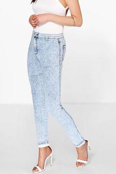 Lara High Rise Acid Wash Knee Slits Skinny Jeans