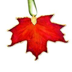 Lacquer Dipped 24k Trim Orange Sugar Maple Decorative Leaf >>> For more information, visit image link.