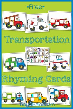 Practice rhyming skills with a transportation theme! Transportation Preschool Activities, Transportation Activities, Rhyming Activities, Preschool Literacy, Free Preschool, Preschool Themes, Preschool Printables, Transportation Room, Language Activities