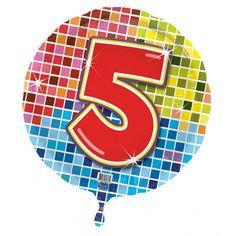 Folie ballon 5 jaar. Gekleurde folie ballon met een 5 daarop. 5 jaar folie ballon in vrolijke kleuren aan de voor en achterkant. Wij verzenden de folie ballon gevuld met helium. Het formaat van de folie ballon is ongeveer 45 cm.