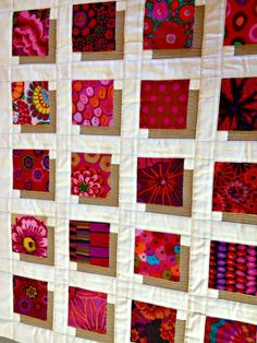 Sewing Block Quilts = tutorial = Shadow Blocks Mini quilt, featuring Kaffe Fassett fabrics, by… Scrappy Quilts, Easy Quilts, Small Quilts, Mini Quilts, 3d Quilts, Quilting Tutorials, Quilting Projects, Quilting Designs, Quilting Ideas