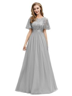 Ever-pretty Formal Grey Bridesmaid Dress Long Evening Cocktail Party Prom Gowns , Bridesmaid Dresses Plus Size, Long Wedding Dresses, Party Dresses For Women, Prom Dresses, Bride Dresses, Formal Wedding, Floral Dresses, Bridesmaids, Dream Wedding