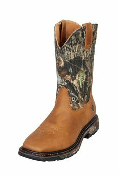 Ariat Men's Workhog Mossy Oak Camo Pull-On Work Boot Square Toe Tan US - http://authenticboots.com/ariat-mens-workhog-mossy-oak-camo-pull-on-work-boot-square-toe-tan-us/