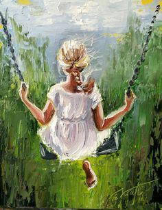 Swing Painting, People Art, Portrait Art, Beautiful Paintings, Oeuvre D'art, Art Pictures, Watercolor Paintings, Painting Prints, Fine Art Prints