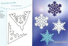 Как сделать снежинку из бумаги, схемы