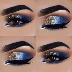 Eye Makeup Tips – How To Apply Eyeliner – Makeup Design Ideas Cute Eye Makeup, Makeup Eye Looks, Gold Eye Makeup, Gorgeous Makeup, Blue Eyeshadow Looks, Awesome Makeup, Glitter Makeup, Blue Eyeshadow Makeup, Sparkle Eyeshadow