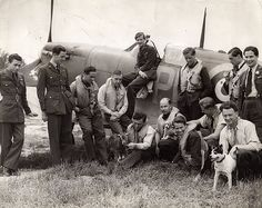609 Squadron RAF, Biggin Hill, Kent, England, with mascots -  February 1941