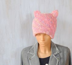 Pussyhat Beanie Cat Ears Hat Pink Knitted Womens Cat Hat Womens March on Washington Feminist Hat Womens Rights Hat Headwear Pastel Colors  Pussyhat made of pink with colorful addition yarn. Very soft and nice  Being dressed in such pussyhat you can express your support for people who demonstrate against negligence of womess rights. You can put on a pussyhat for Womens March on Washington. If you are not in Washington or even if you are not in US you can show your solidarity with other women…
