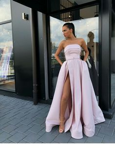 Strapless Bodice Corset Long Satin Split Evening Dresses on Luulla Grad Dresses, Ball Dresses, Homecoming Dresses, Ball Gowns, Wedding Dresses, Reception Dresses, Hippie Dresses, Split Prom Dresses, Fitted Prom Dresses