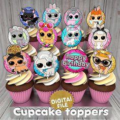 Lol dolls surprise glitter cupcake toppers, lol surprise glitter pets cupcake toppers, lol surprise doll toppers, LOL Surprise Toppers DIY