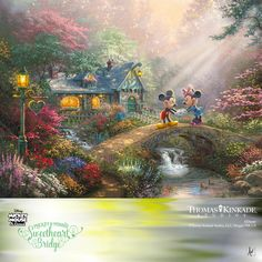 "The Thomas Kinkade Studios is proud to present ""Mickey and Minnie – Sweetheart Bridge"", the follow-up Limited Edition Art Release to the Sold Out image – ""Mickey and Minnie – Sweetheart Cove"". This romantic painting, featuring two of the world's most beloved Disney characters, was inspired by the idea that love is the bridge that brings people together and turns two lives into one. ""Mickey and Minnie – Sweetheart Bridge"" is available in a very small edition size."