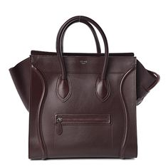 CELINE Smooth Calfskin Mini Luggage Burgundy 493421 .... for $1150 on fashionphile :'( Luxury Bags, Luxury Handbags, Absolutely Flawless, Travel Tote, Leather Interior, Large Bags, Celine, Burgundy, Smooth