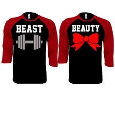Beast and Beauty Couple Black / Red Baseball T-shirt