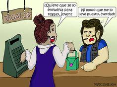 Caricatura, bolso, regalo, obviedad, miketoon, michael Salinas