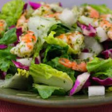 Chopped Salad with Shrimp, Cabbage, Jicama, and Cilantro-Lime Dressing