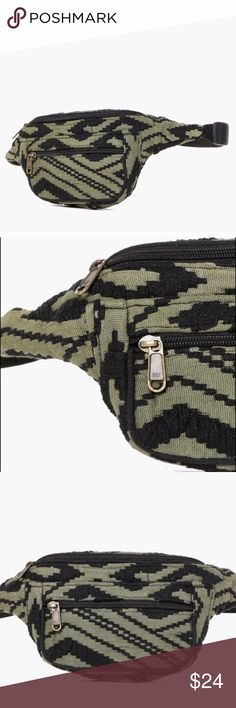 Tribal Print Olive Green Fanny Pack Bum Belt Bag Cargo green with geometric print fanny pack. Snap closure, fully adjustable belt. Perfect for festivals, dancing, hiking, etc! Spacious enough to fit your phone, camera, sunglasses and most cosmetics! You will receive a new, unused item. Bags Satchels