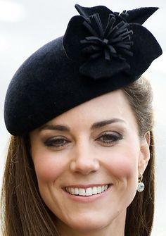 Catherine, The Duchess of Cambridge. Beautiful black hat: visit to the city of Leicester.