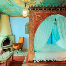 Comfortable Moroccan Bedroom Design Ideas for Amazing Home - Page 31 of 41 Moroccan Style Bedroom, Moroccan Interiors, Moroccan Design, Moroccan Decor, Moroccan Lighting, Moroccan Lanterns, Moroccan Tiles, Design Marocain, Style Marocain