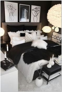 hom e bedroom decor ideas ispo inspiration decorations cozy pillows bed home swe. - hom e bedroom decor ideas ispo inspiration decorations cozy pillows bed home sweet home dark black white Cute Bedroom Ideas, Cute Room Decor, Girl Bedroom Designs, Room Ideas Bedroom, Home Decor Bedroom, Black Bedroom Decor, Black And Silver Bedroom, Black Bed Room Ideas, Black White Decor