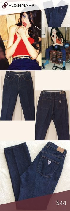 """Vintage Guess Grunge Mom Fit high waist Jeans Vtg Guess Jeans. Ultra high waist and tapered leg. Dark indigo as seen in first photo.  100% cotton, no stretch. Tag size 31, best fit M or 6-8, but please go by measurements. Rise is 10.5"""" and the waist is a tad under 15"""".  Inseam is 30"""" Guess Jeans"""