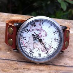Retro Unique World Map Leather Watch by ByGoodss on Etsy, $24.00