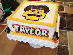 Lego Movie cake, Emmet Brickowski, for my 7 year old.