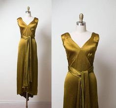 RESERVED 1930s Gown / 1930s Bronze Wrap Dress