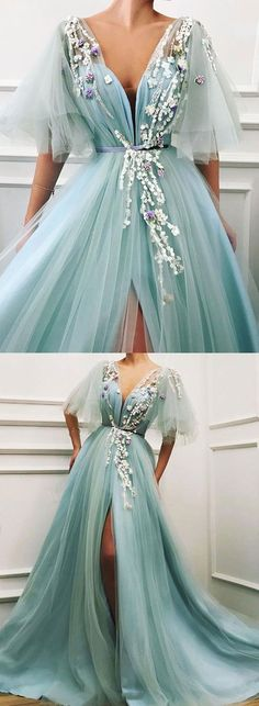 Gorgeous Stylish v neck tulle lace long prom dress, sexy evening dress with split · ModelDressy · Online Store Powered by Storenvy Prom Dresses Under 100, Prom Dresses 2018, Prom Dresses With Sleeves, Tulle Prom Dress, Diy Dress, Tulle Lace, Crazy Dresses, Stylish Dresses, Pretty Dresses