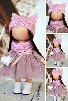 Handmade doll Rag doll Tilda doll Art doll Fabric doll Interior doll Violet doll Soft doll Nursery doll Cloth doll Collectable doll by Olga